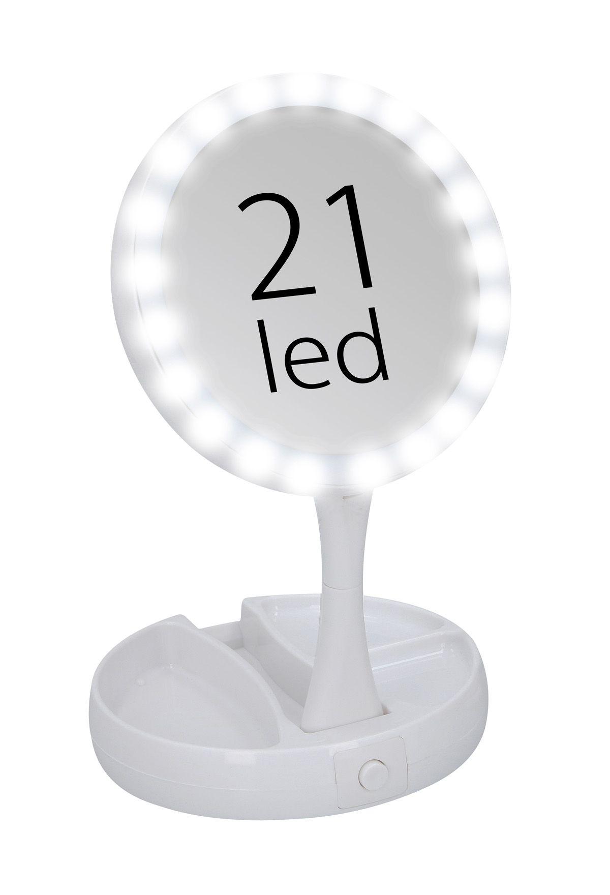 Kosmetické zrcátko na líčení Timelife 21LED skládací