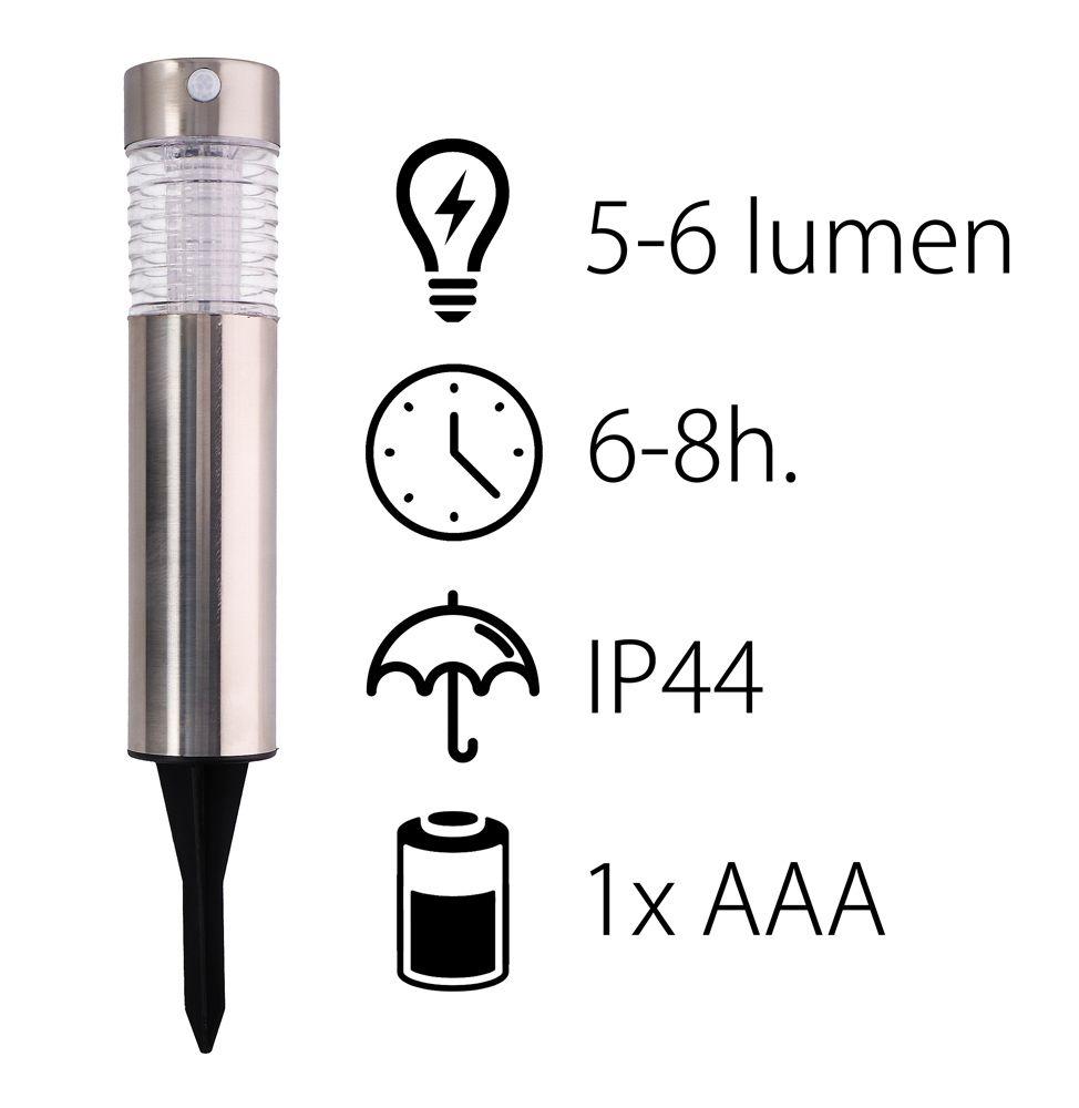Solární světlo nerez ocel pohybový senzor Timelife 6x39cm