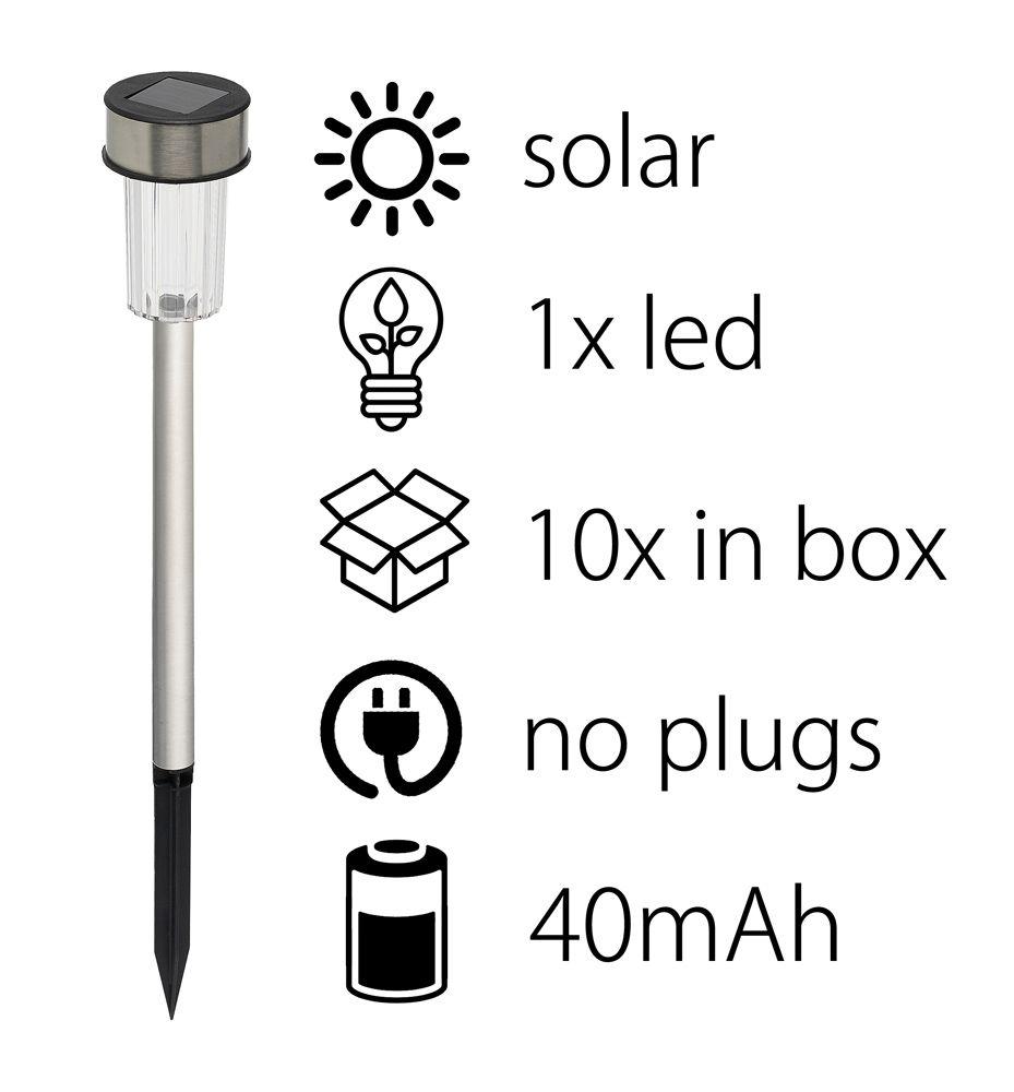 Solární lampa set 10ks v balení 4,8x36cm Timelife nerez ocel