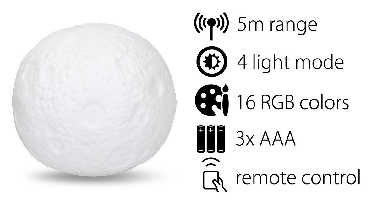 Lampa v designu měsíce RGB barvy dálkové ovládání Timelife 11cm