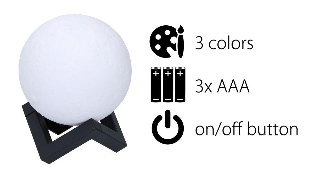 Lampa v designu měsíce průměr 12cm RGB barvy Timelife