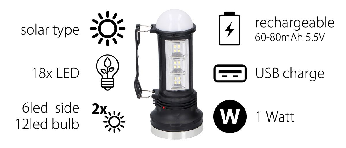Solární přenosná lampa 18LED Timelife